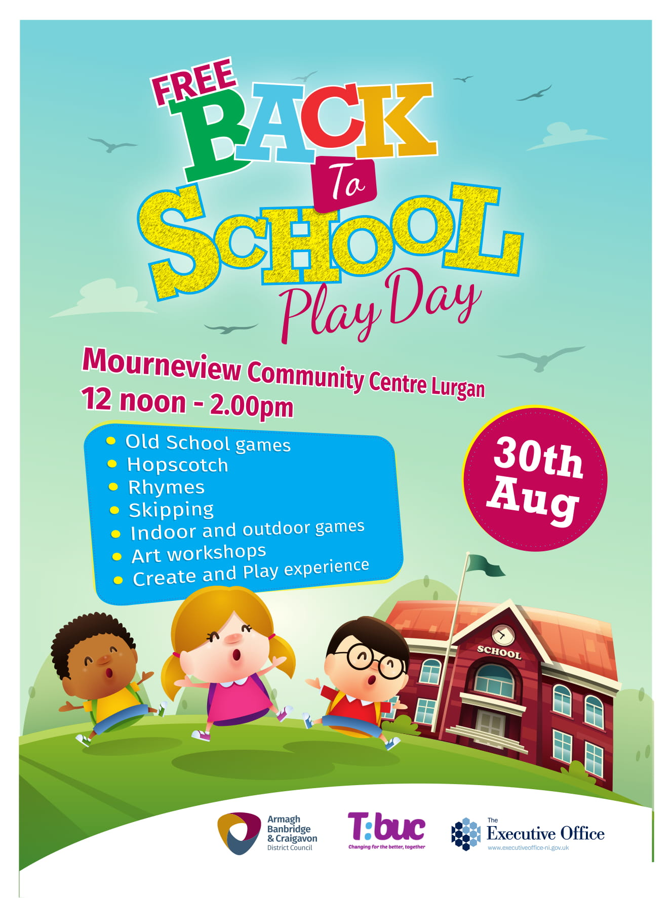 Free Back to School Play Day and Tea Dance at Mourneview Community Centre