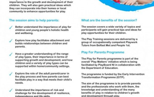 Play Awareness sessions for Parents – Open for bookings!!