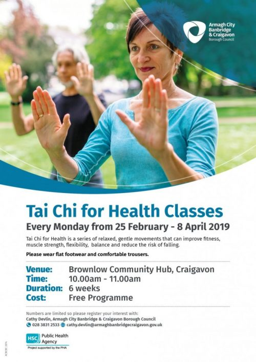 Free 6 week Tai Chi for Health classes in Brownlow Community Hub
